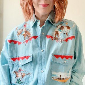 fancy vintage denim western shirt, med